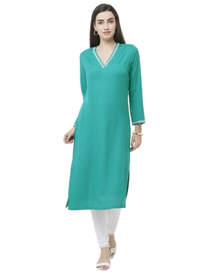 Sea-green plain viscose ethnic-kurtis