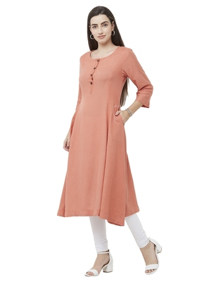 Peach plain viscose ethnic-kurtis