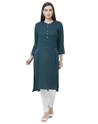 Blue plain viscose ethnic-kurtis