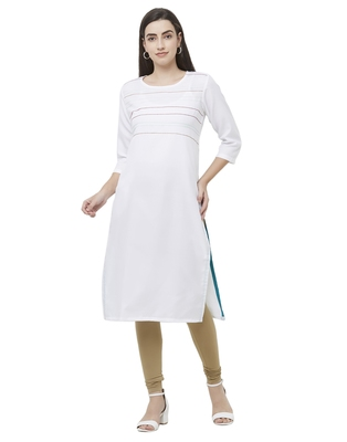 White plain cotton poly ethnic-kurtis