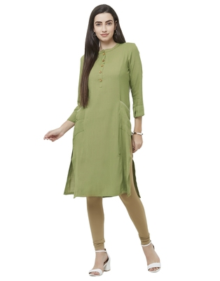 Green plain viscose ethnic-kurtis