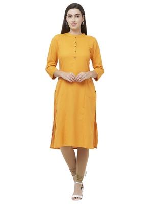 Mustard plain cotton ethnic-kurtis
