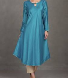 Blue plain silk long-kurtis