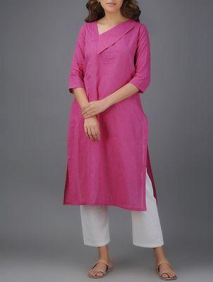 Pink plain cotton long-kurtis