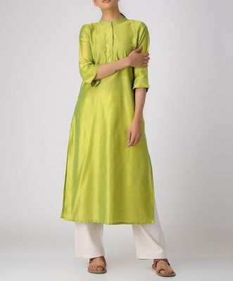 Green plain cotton long-kurtis