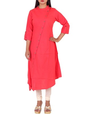 Red plain cotton long-kurtis
