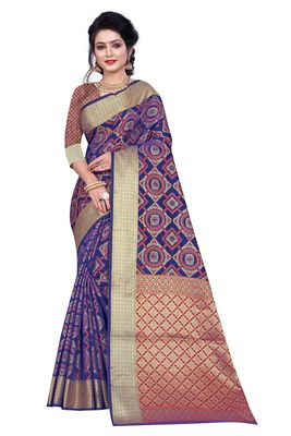 Blue Woven Banrasi Saree With Blouse
