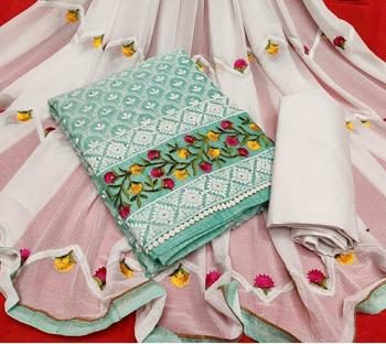 sky blue embroidered cotton unstitched salwar with dupatta