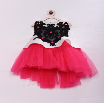 Pink Stylish & fashionable girls scuba with soft peplum net , hi low styled flared party dress