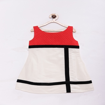 Red Stylish & fashionable girls cotton silk party dress with raw silk patch with quitling on chest
