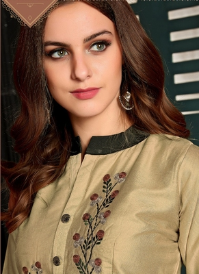 Beige Heavy Satin Cotton Fancy Kurti