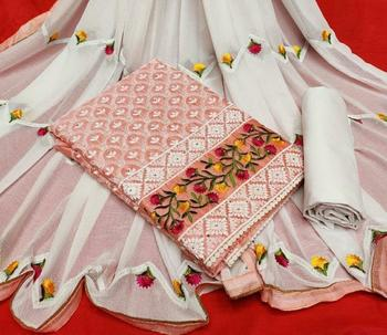 peach embroidered cotton unstitched salwar with dupatta