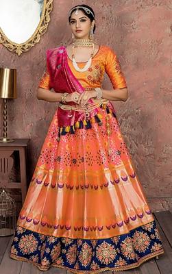Sratfish Orange Banarasi Lehengha Choli