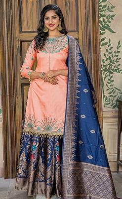 Peach embroidered Ruby semi stitched salwar with dupatta