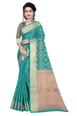 Sea Green Woven Banarasi Saree With Blouse