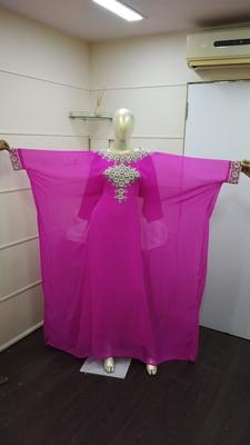 Rani-Pink  Zari Work Chiffon Polyester Islamic Party Wear Festive Kaftan Farasha