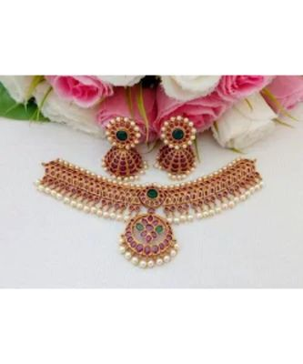 Gorgeous Designer Matt Finish Choker With A Pair Of Beautiful Jhumkas