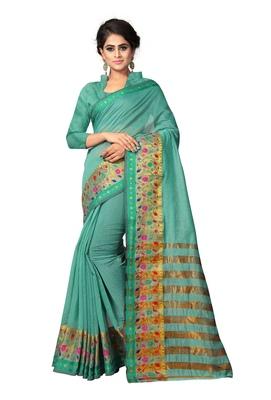 Sea Green Woven Cotton Silk Saree With Blouse