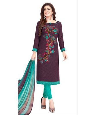 purple printed synthetic unstitched salwar with dupatta