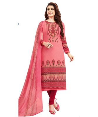 pink printed synthetic unstitched salwar with dupatta