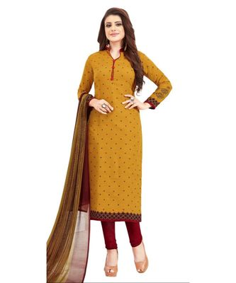 yellow printed synthetic unstitched salwar with dupatta