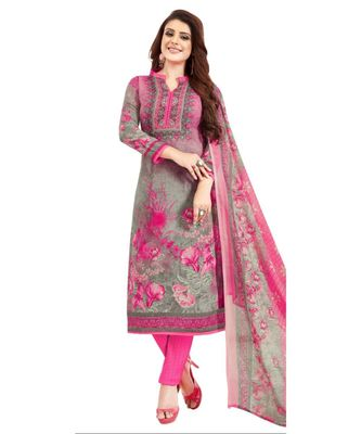grey printed synthetic unstitched salwar with dupatta