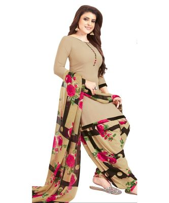 beige printed synthetic unstitched salwar with dupatta