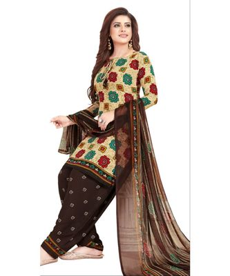 cream printed synthetic unstitched salwar with dupatta