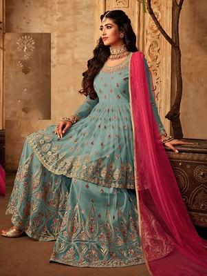 Sky Blue Wedding Wear Designer Plazo Suit