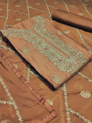 orange mebroidered cotton unctitched salwar with dupatta