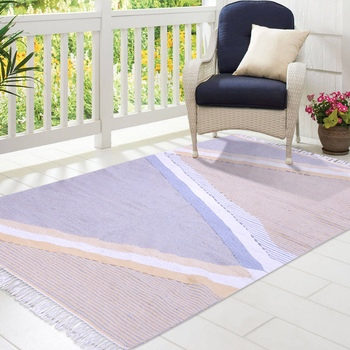 Multicoloured Cotton Geometric Patterned Hand Woven Rectangle Carpet