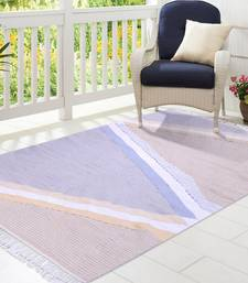 Multicoloured Cotton Geometric Patterned Hand Woven Rectangle Carpet