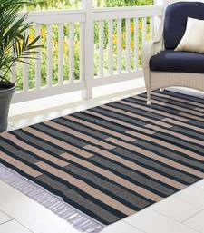 Dark Green and Beige Cotton Stripe Patterned Hand Woven Rectangle Carpet