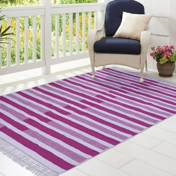 Pink and Beige Cotton Stripe Patterned Hand Woven Rectangle Carpet