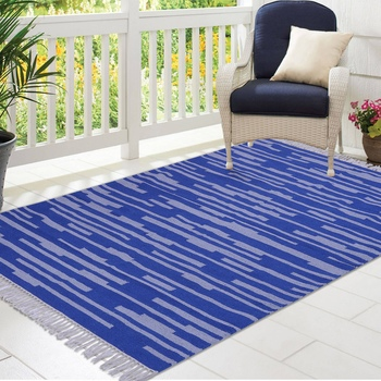Blue and Grey Cotton Stripe Patterned Hand Woven Rectangle Carpet