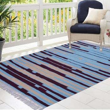 Multicoloured Cotton Stripe Patterned Hand Woven Rectangle Carpet