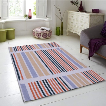 Multicoloured Cotton Stripe Patterned Hand Woven Rectangle Carpet