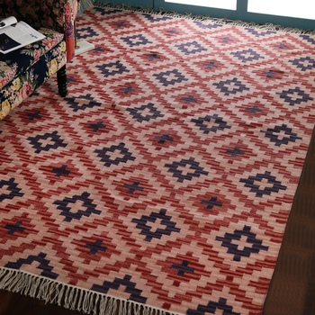 Multicolour Jute Geometric Patterned Hand Woven Carpet