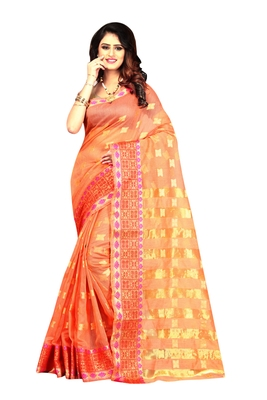 Orange woven brasso saree with blouse