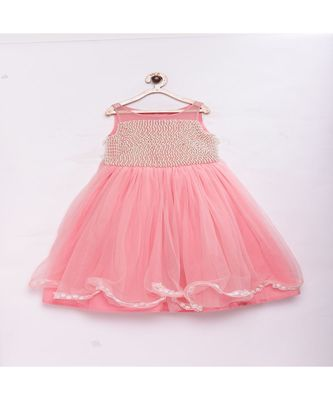 Peach Stylish & fashionable girls net with pearls on front , flared party gown with ruffles