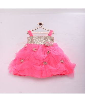 Pink Stylish & fashionable girls sequence with net flared party gown