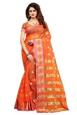 Orange woven brasso saree with blouse