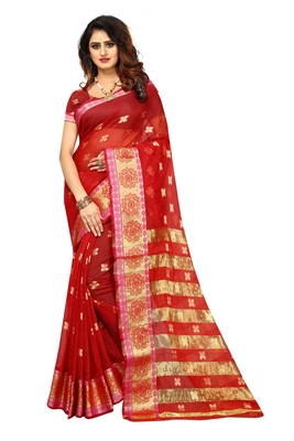Red woven brasso saree with blouse