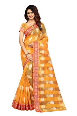 Yellow Woven Brasso Saree With Blouse