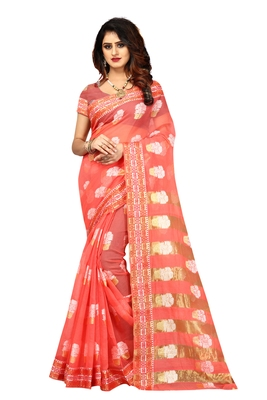 Pink woven brasso saree with blouse
