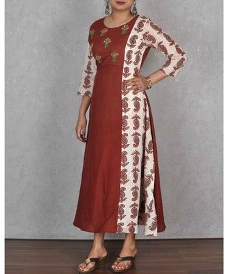 Brown & White Cotton Dress With Hand Embroidery