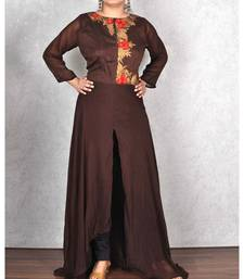 Brown Georgette Embroidered Dress