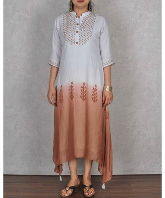 Light Blue & Brown Shaded Muslin Embroidered Dress