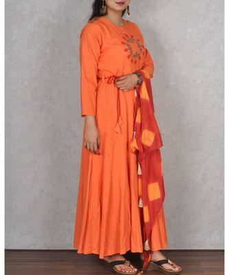 Orange Muslin Dress with Scarf