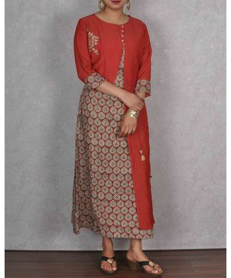 Red & Beige Cotton Printed Dress